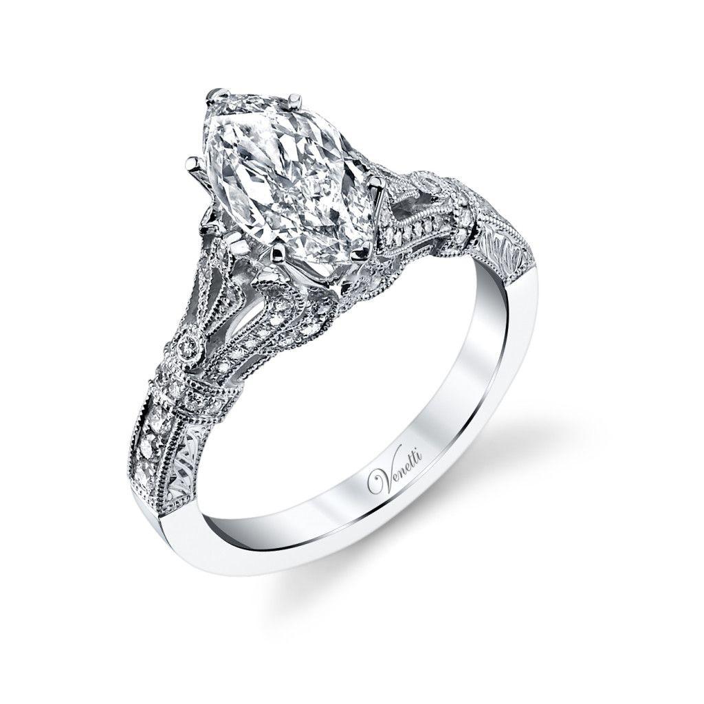 Venetti 14k White Gold Vintage Style Marquise Engagement Ring Http Diamondsltd Co Engagement Rings Marquise Art Deco Engagement Ring Vintage Engagement Rings