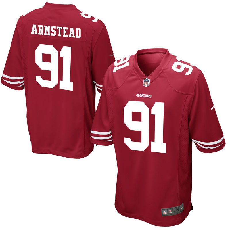 Red 49ers Arik Armstead Men Jersey White Black