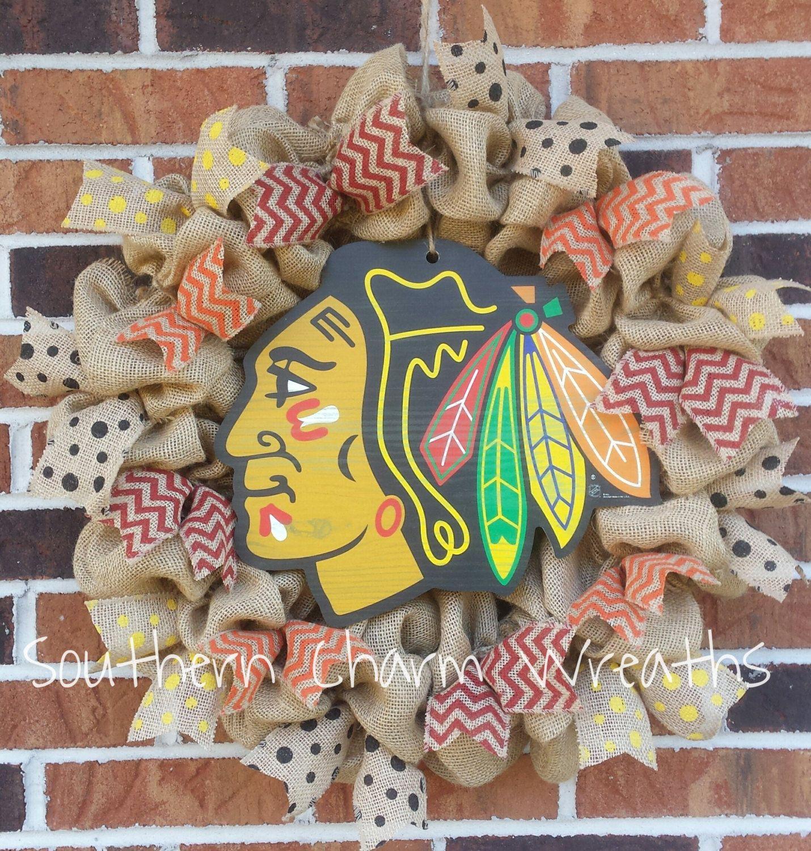 Natural Burlap Chicago Blackhawks Hockey Wreath   wreaths   Pinterest