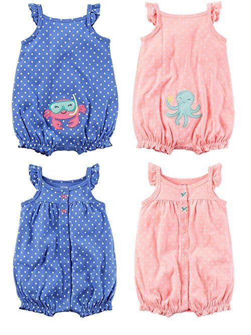 Carter's Baby Girls' 2-Pack Snap up Romper (3 Months, Pink Polka Dot/Blue Polka Dot)