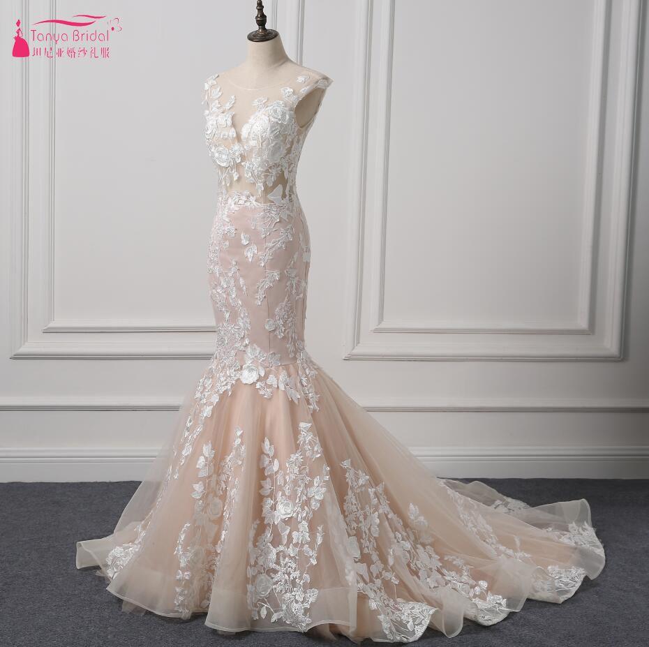Blush mermaid wedding dress  Find More Wedding Dresses Information about  Spring Mermaid