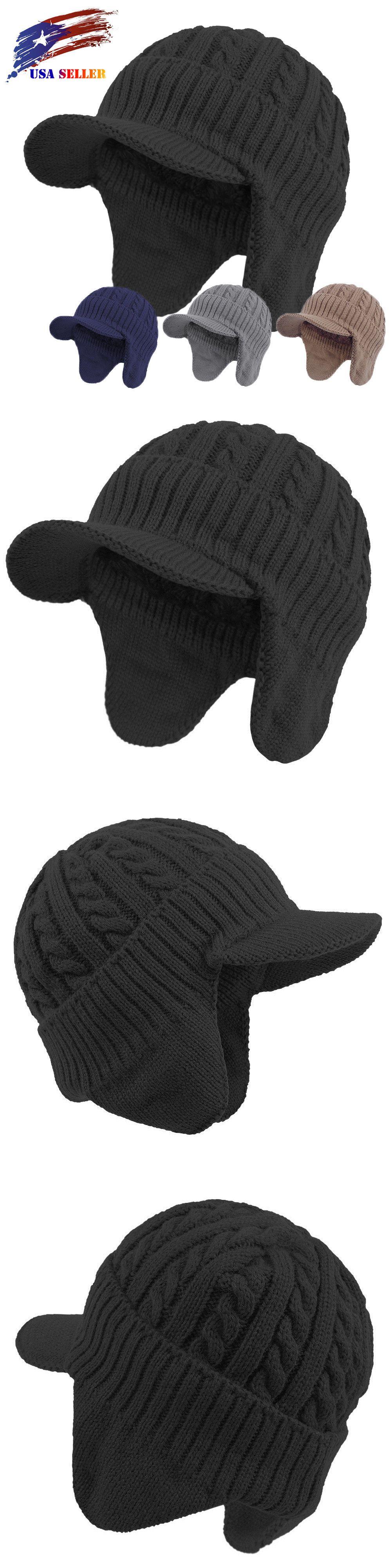 0dd1ffc62cef4 Hats and Headwear 62175  Winter Earflaps Visor Beanie Knit Brim Hat Warm  Fleece Lined Ski