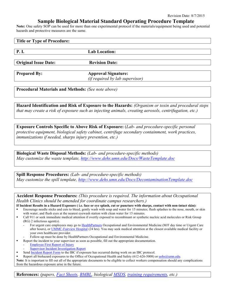 Standard Sop Form Schemaw Throughout Free Standard Operating