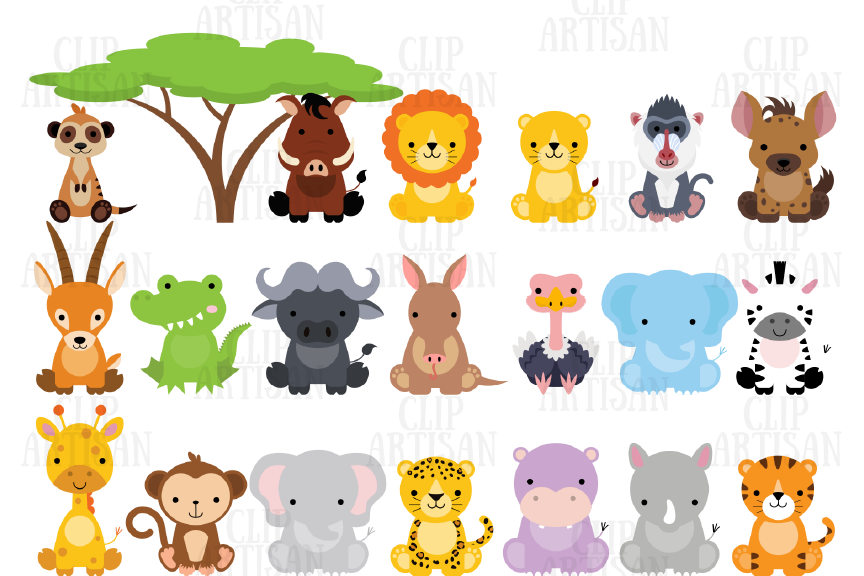Safari Animals Clipart African Animals Graphic By Clipartisan Creative Fabrica