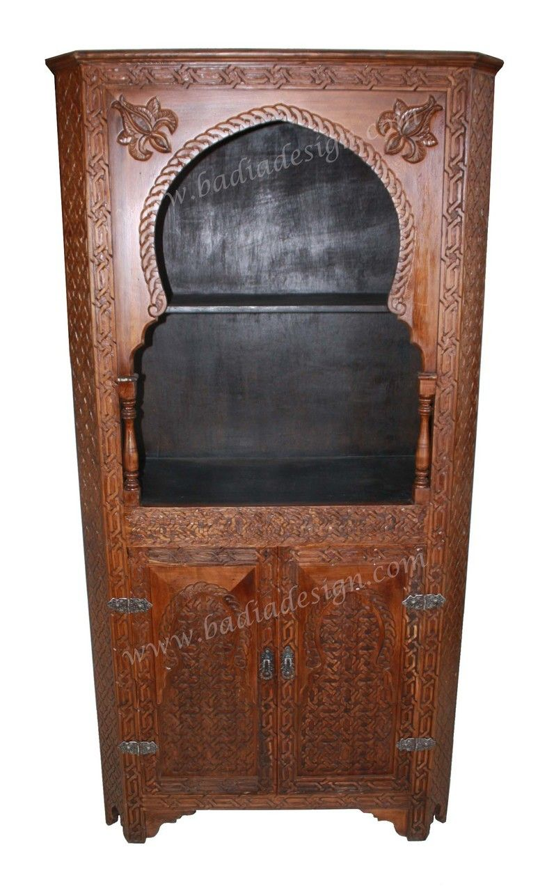 Awesome Tall Hand Carved Wooden Display Cabinet   CW CA052 | Exotic Moroccan  Furniture In Los Angeles | Pinterest | Wooden Display Cabinets, Display  Cabinets And ...