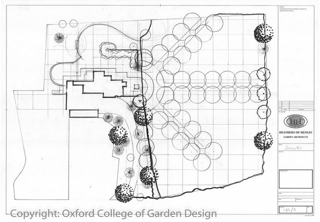 initial layout plan for a large country garden showing how to utilise a grid pattern to - Garden Design Grid