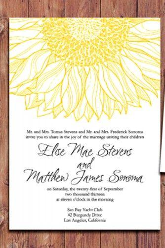 21 Shiny Sunflower Wedding Invitations Sunflower wedding