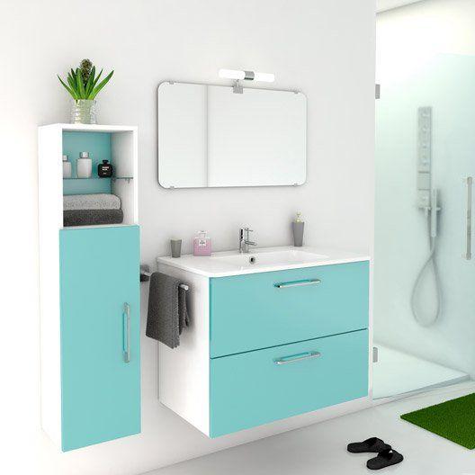 meuble de salle de bains happy bleu atoll n4 81x46 cm 2 tiroirs - Meuble Sous Vasque Salle De Bain Leroy Merlin