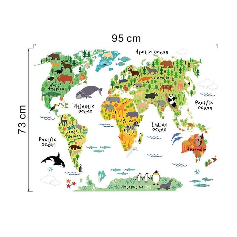 World map animals wall stickers room decorations cartoon mural art world map animals wall stickers room decorations cartoon mural art zoo children home decals posters 037 gumiabroncs Choice Image
