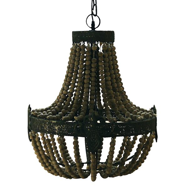 Rusty Chandelier The Bourbon Street Natural Wood Beaded Light Fixture In 2020 Beaded Light Fixture Chandelier Light Fixtures