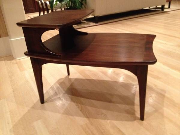 Broyhill Emphasis 2 Tier Step Side End Table Mid Century Modern