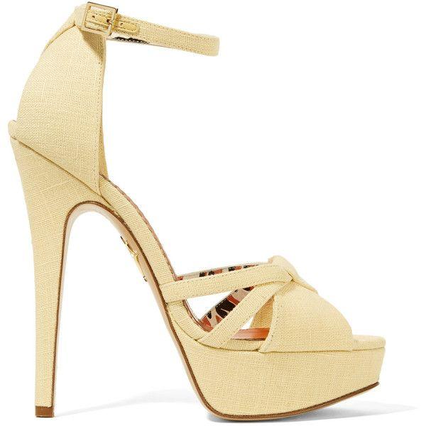 Charlotte Olympia Woman Iola Linen Platform Sandals Pastel Size 40 vfrGGvAc