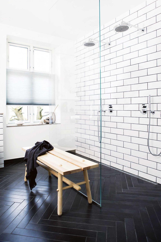 11 Bathrooms With Black Herringbone Tiles Black Tile Bathrooms Black Floor Tiles White Bathroom Decor