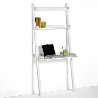 The Container Store White Linea Leaning Desk Bookshelf Bookshelves