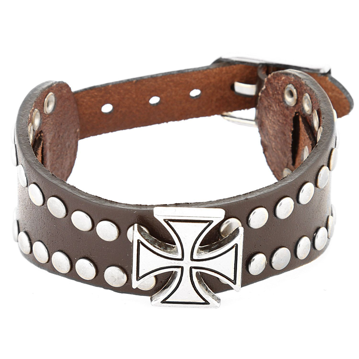 West Coast Jewelry Stainless Steel and Leather Men's Celtic Cross and Stud Bracelet (B