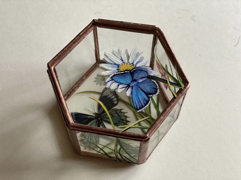 Butterfly Ring Box Hand Painted Glass Jewelry Trinket