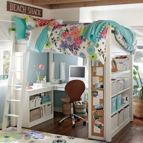 Cute idea for a little girl's room - loft bed with little desk area. The  shelves with the corkboard sides are a nice touch. Good idea for sleepovers  - extra ...