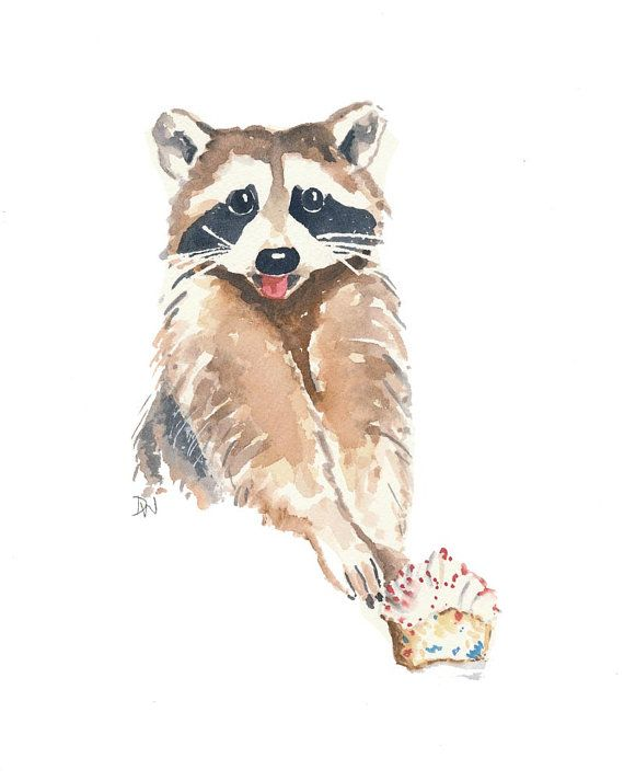 Original Raccoon Watercolor Painting Raccoon by ... Raccoon Painting