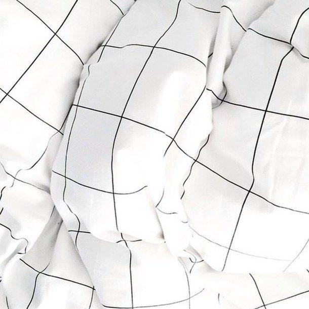 Aesthetic    bed black and white chic clean cozy design elegant grid hipster indie interior minimal pale pattern quilt soft grunge also rh pinterest