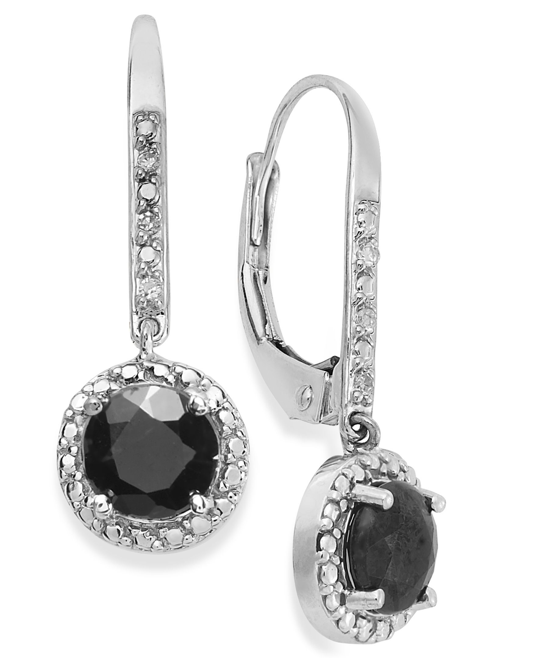 10k White Gold Earrings, Sapphire (1 ct. t.w.) and Diamond Accent Leverback Earrings