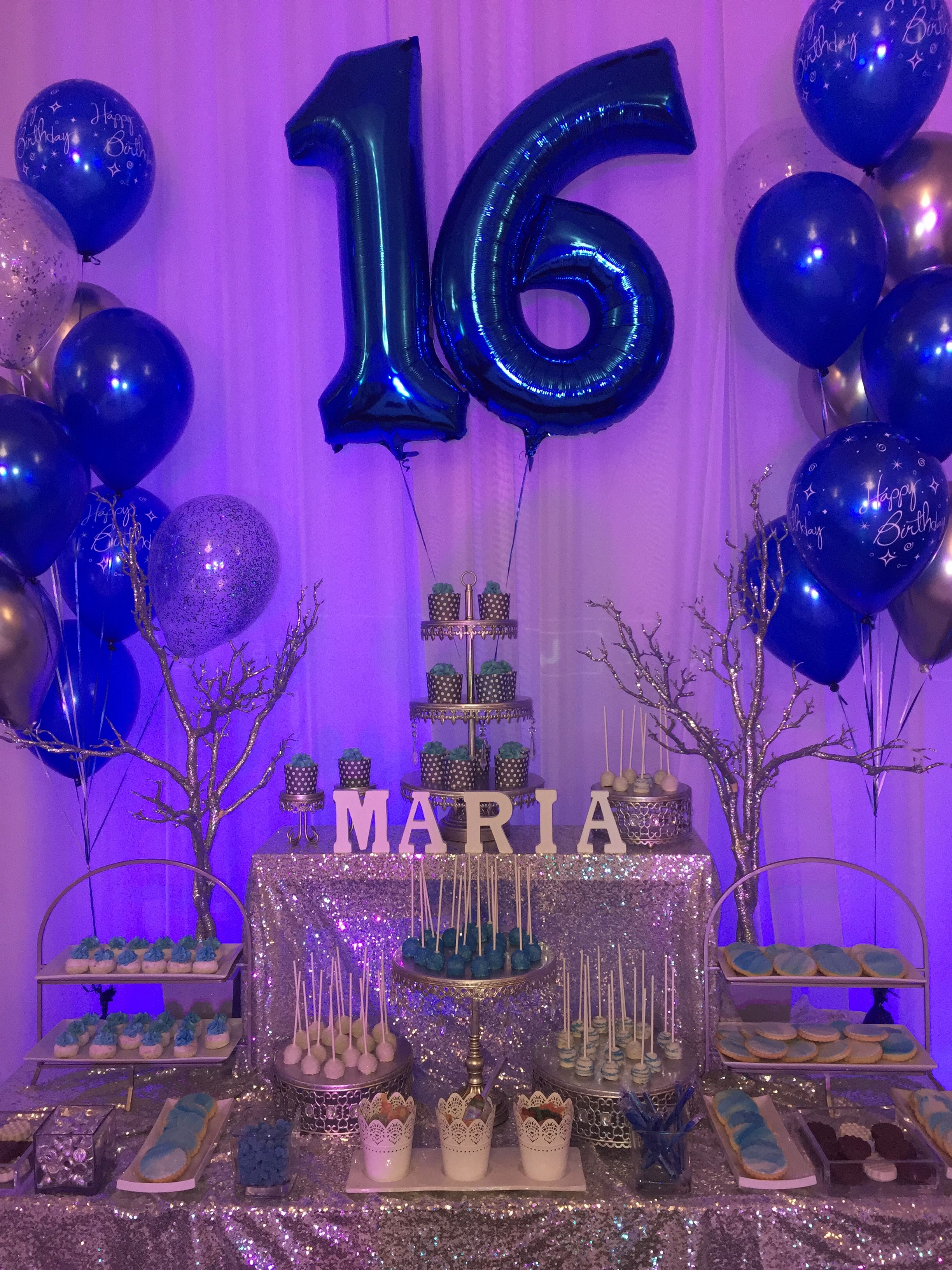 Navy Blue Silver Birthday Party Sweet Sixteen Candybar