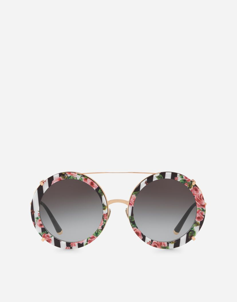 052756b2199 ROUND CLIP-ON SUNGLASSES IN GOLD METAL WITH STRIPE AND ROSE PRINT ...