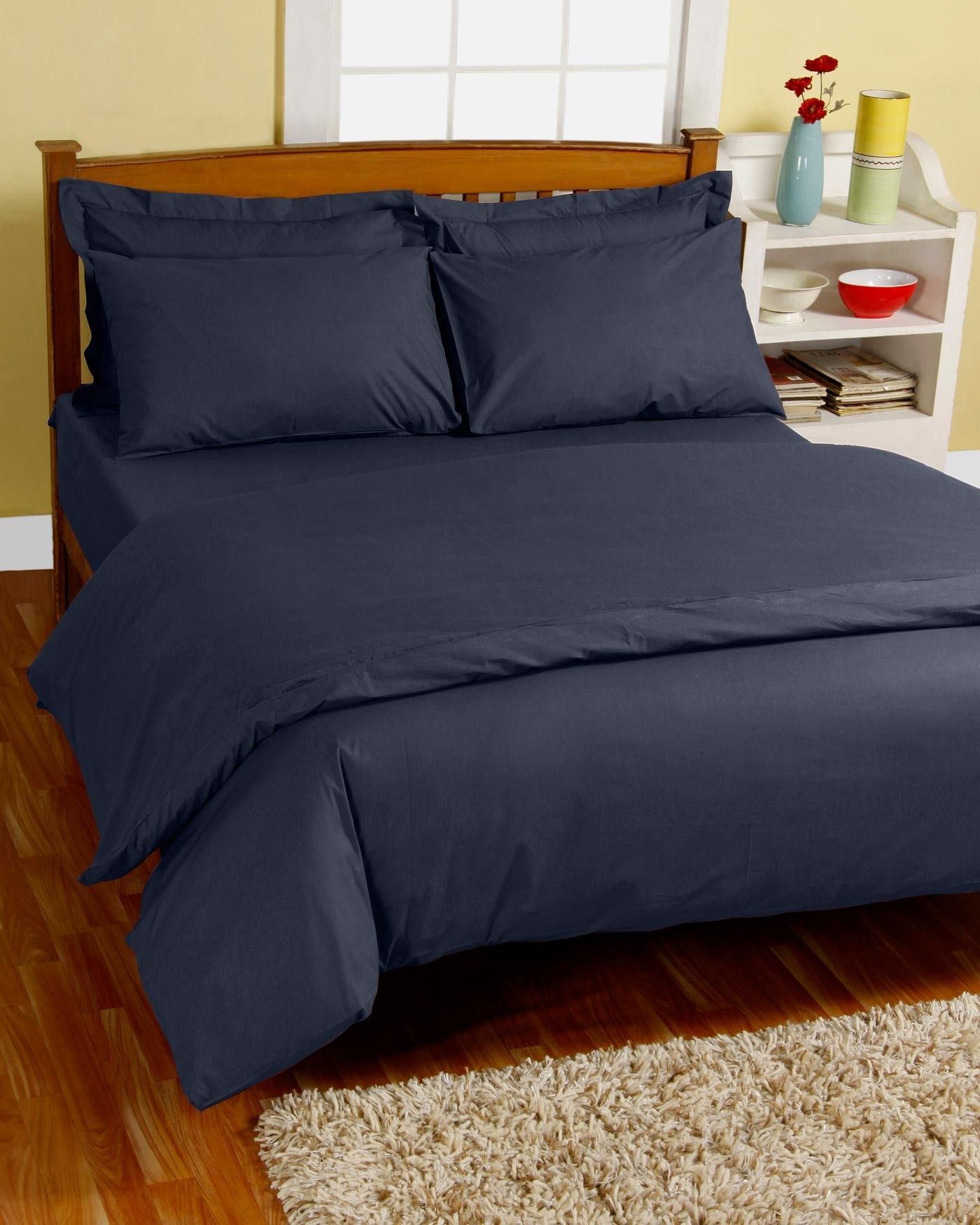 Navy Blue Egyptian Cotton Duvet Cover with Pillowcase 200
