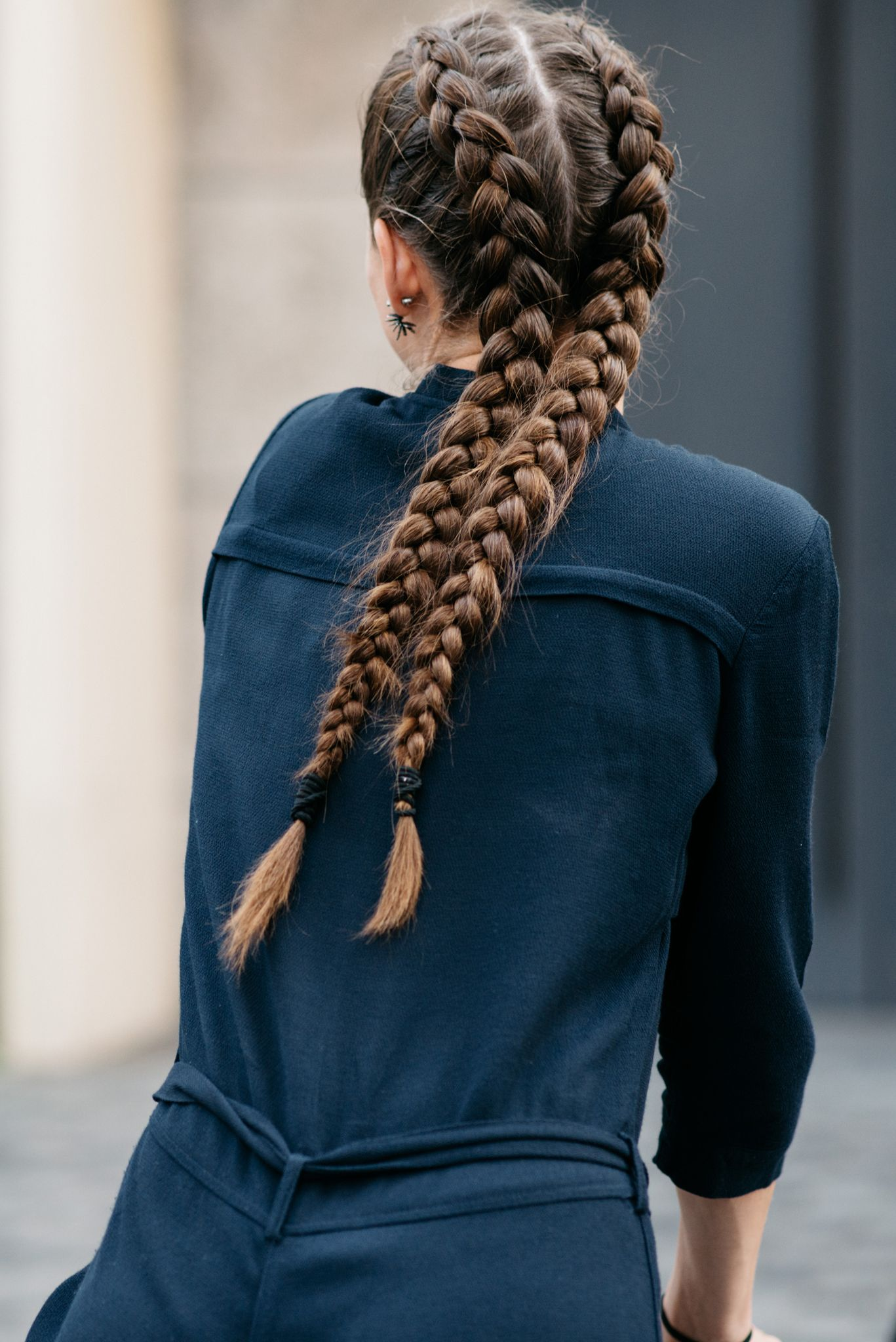 double french plaits long hair
