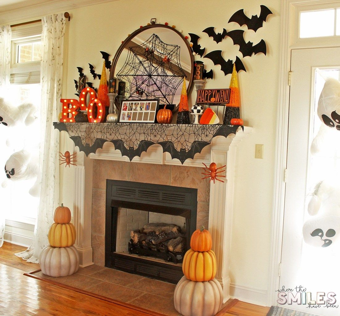 Halloween Mantel Decor: Pumpkins And Spiders And Bats! Oh