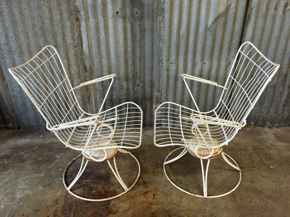 Pair Of Vintage Homecrest Mid Century Patio Chairs Circa 1960s Both Swivel And Rock White Metal Wire Solid Well Built In Color No Breakages