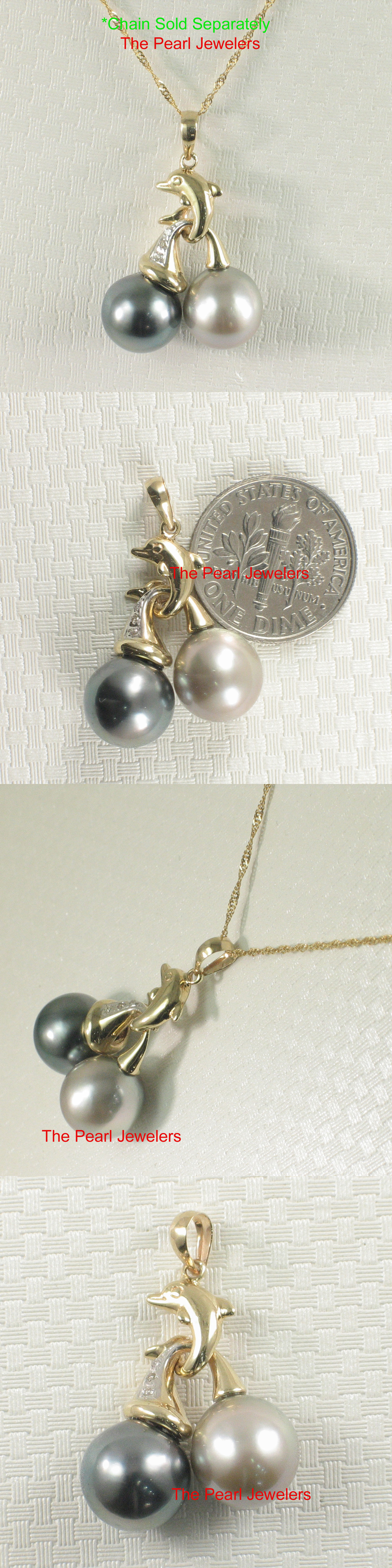 Pearl 164333: Twin Silver And Black Tahitian Pearl: Diamond Pendant 14K Solid Yellow Gold – Tpj -> BUY IT NOW ONLY: $338.85 on eBay!