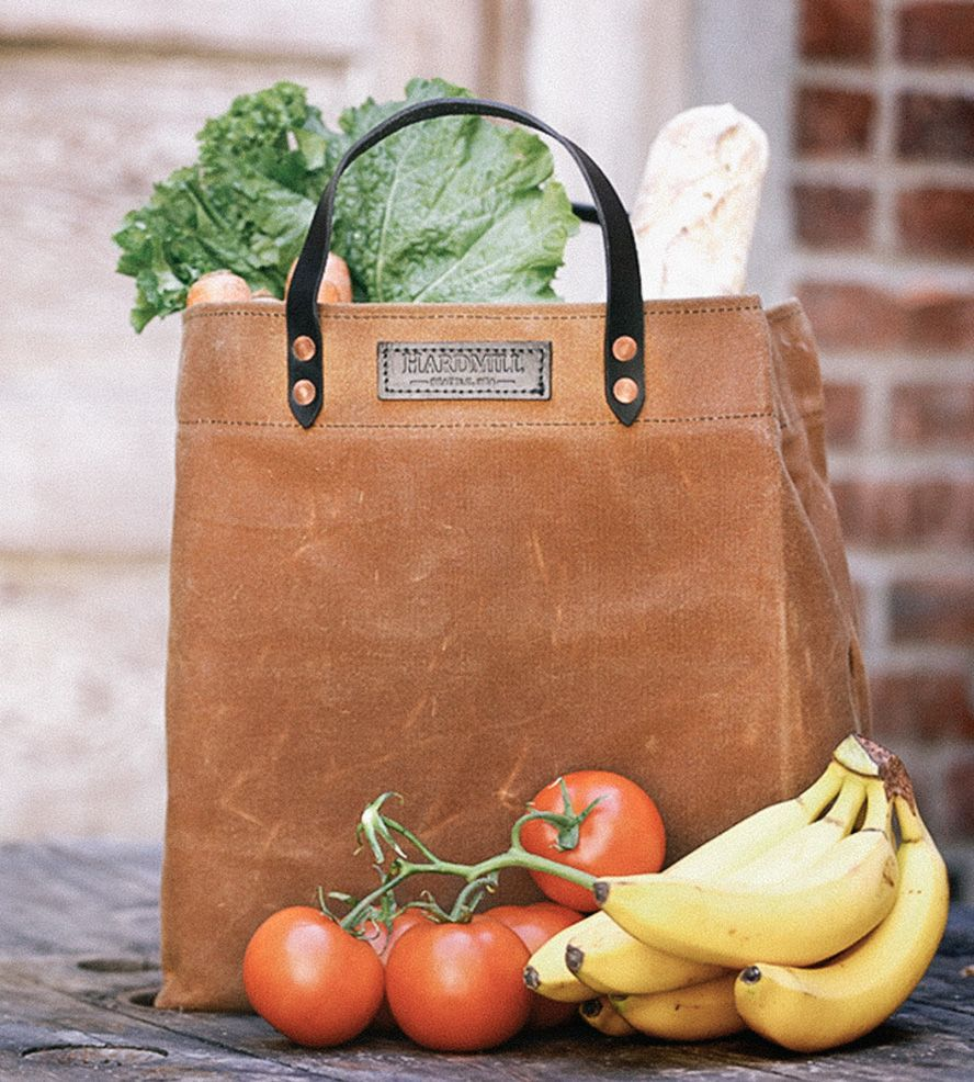 Waxed Canvas Grocery Tote Bag