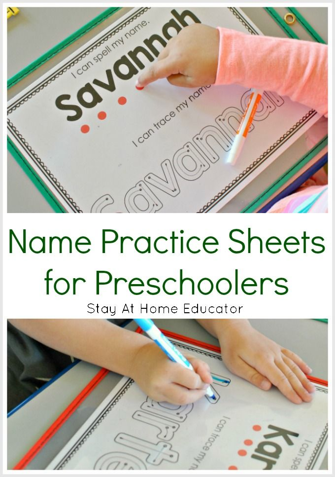 Name Practice Sheets for Learning to Spell Names in Preschool | Tod ...