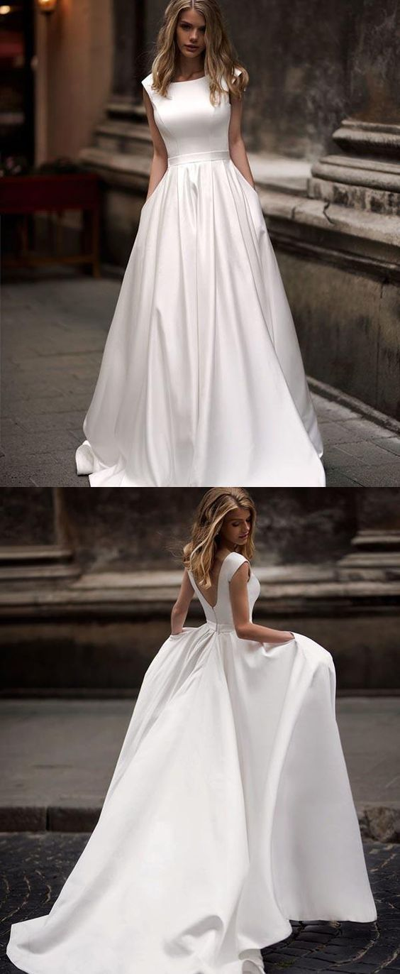 Photo of Vintage Scoop Neck A-Line Ivory Long Wedding Dresses,Simple Wedding Gown with Pockets