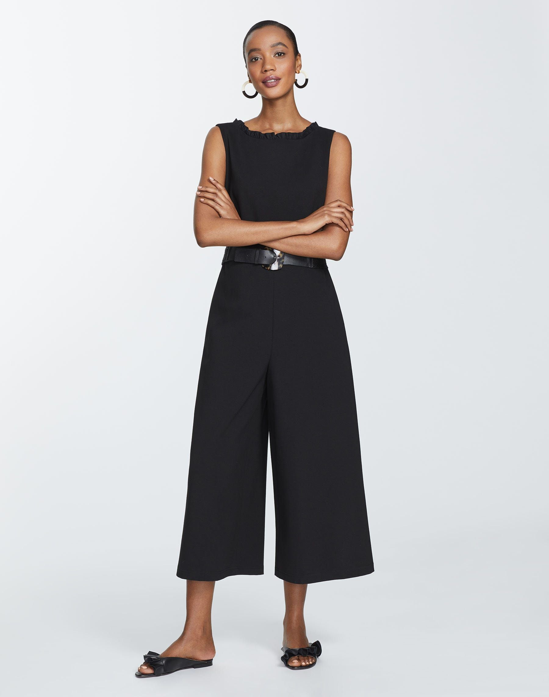 Lafayette 148 Rooney Sleeveless Cropped Jumpsuit In Black