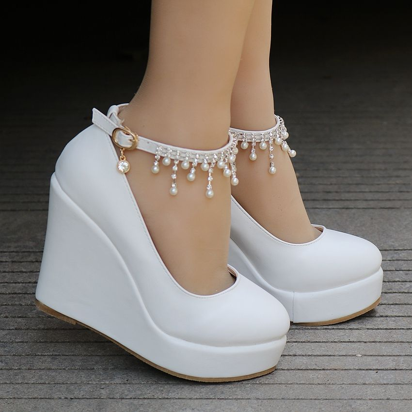 Pearl Beaded Ankle Strap Wedge Shoes In