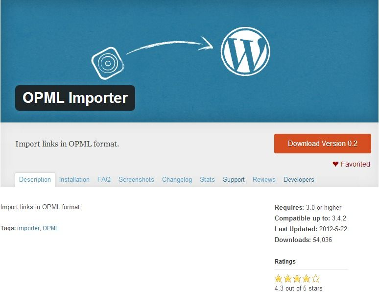 Use the OPML Importer to import links in OPML format  (Note