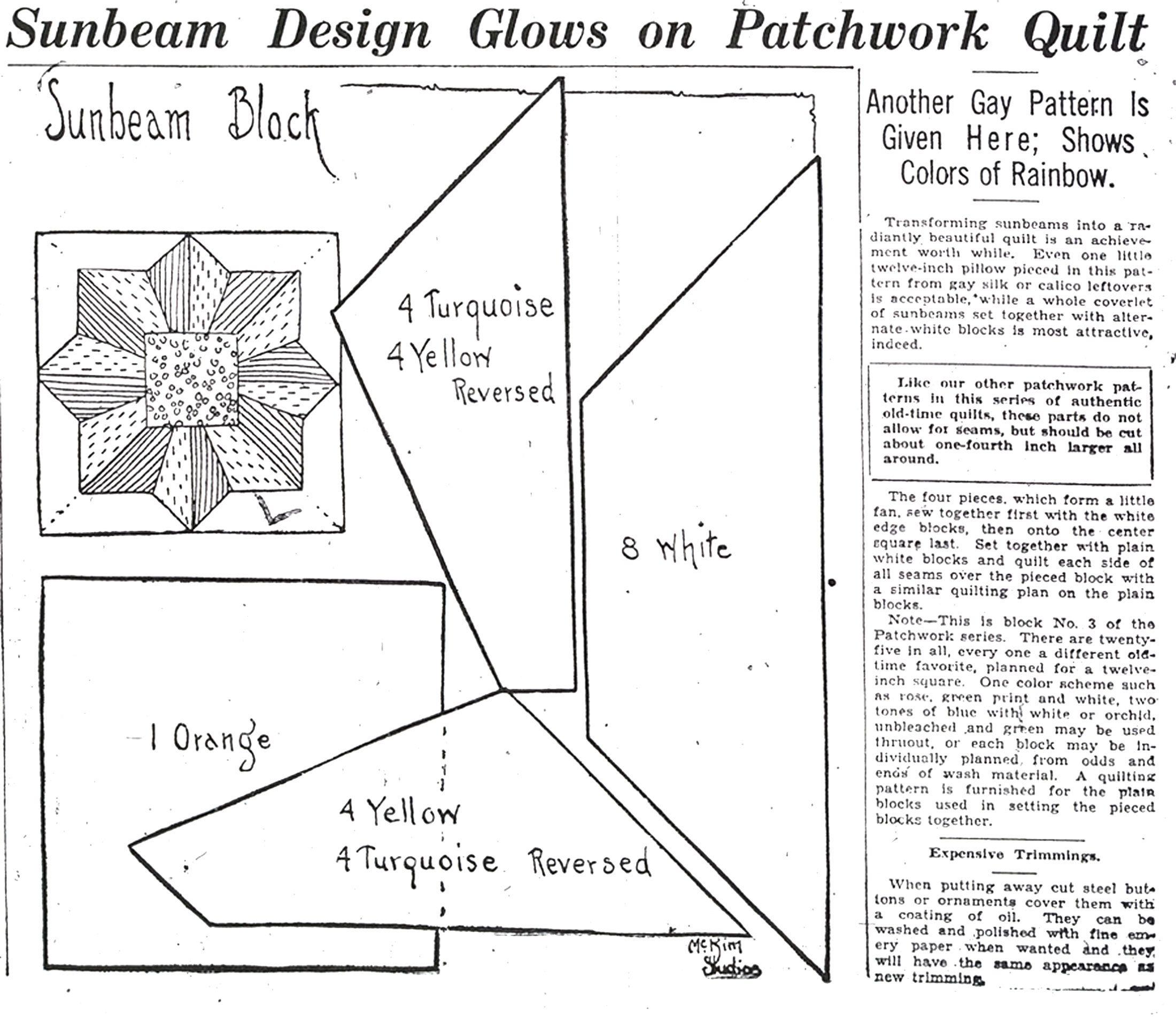 Patchwork Quilt series: Sunbeam pattern   Quilt blocks   Pinterest ...