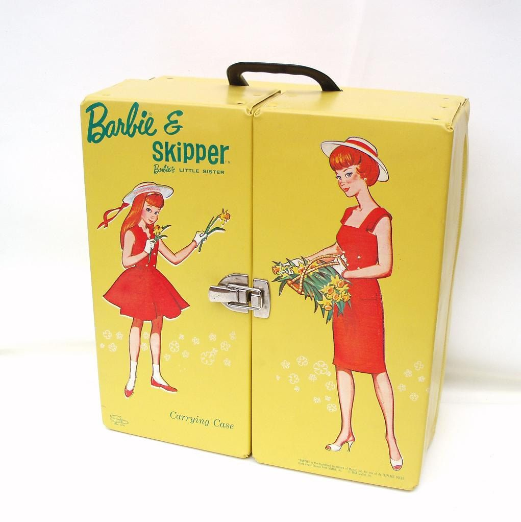 Vintage Barbie Carrying Case 1964 Mattel Barbie Tote Barbie and Skipper Double Carry All Wardrobe Trunk by WhimzyThyme on Etsy #barbie #travel #case
