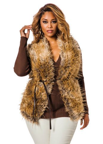 04fb92cf059 Faux Fur Vest w  Pleather Back Faux Fur Vest w  Pleather Back