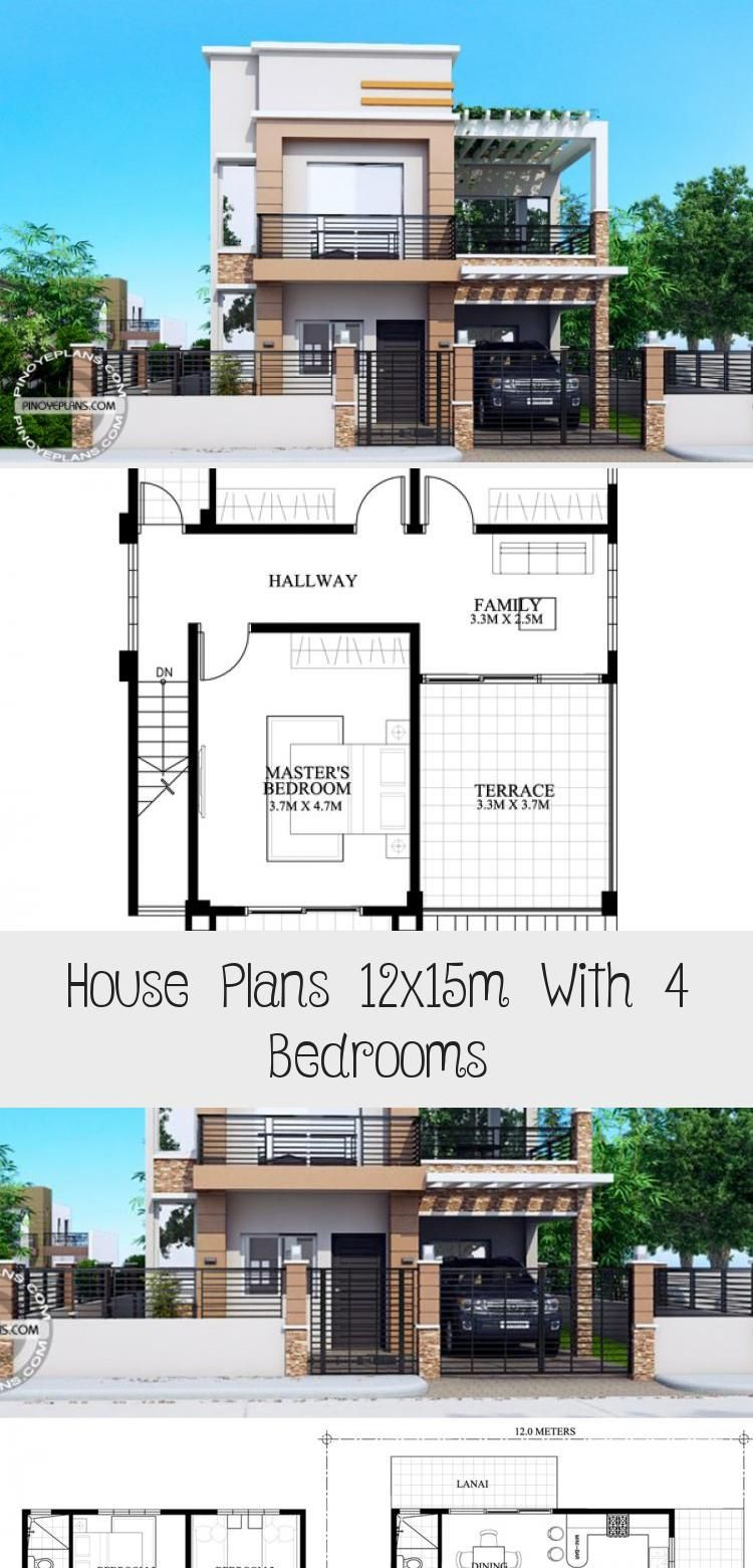House Plans 12x15m With 4 Bedrooms In 2020 House Plans Affordable House Plans Family House Plans