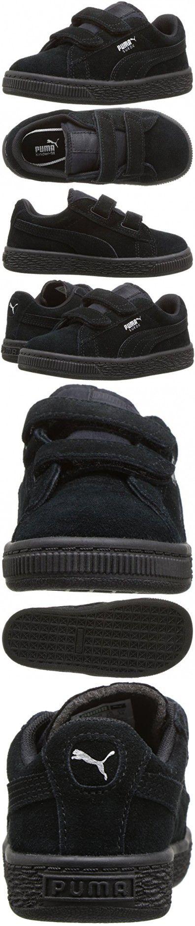PUMA Baby Suede 2 Straps Kids Sneaker, Puma Black-Puma Silver, 8 M US Toddler