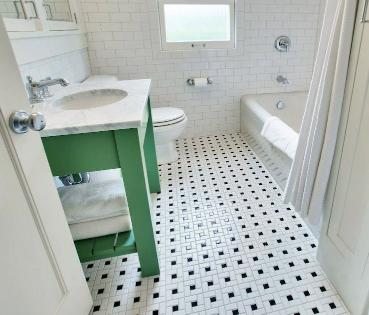 White And Green Bathroom With Washstand Carrara Marble Countertop Over Vintage Black Tile Floor