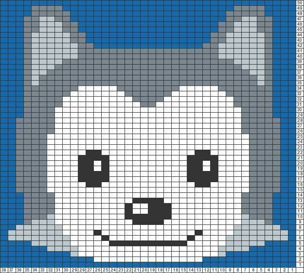 Husky Dog c2c crochet graph graphgan pattern hama perler | Graphing ...