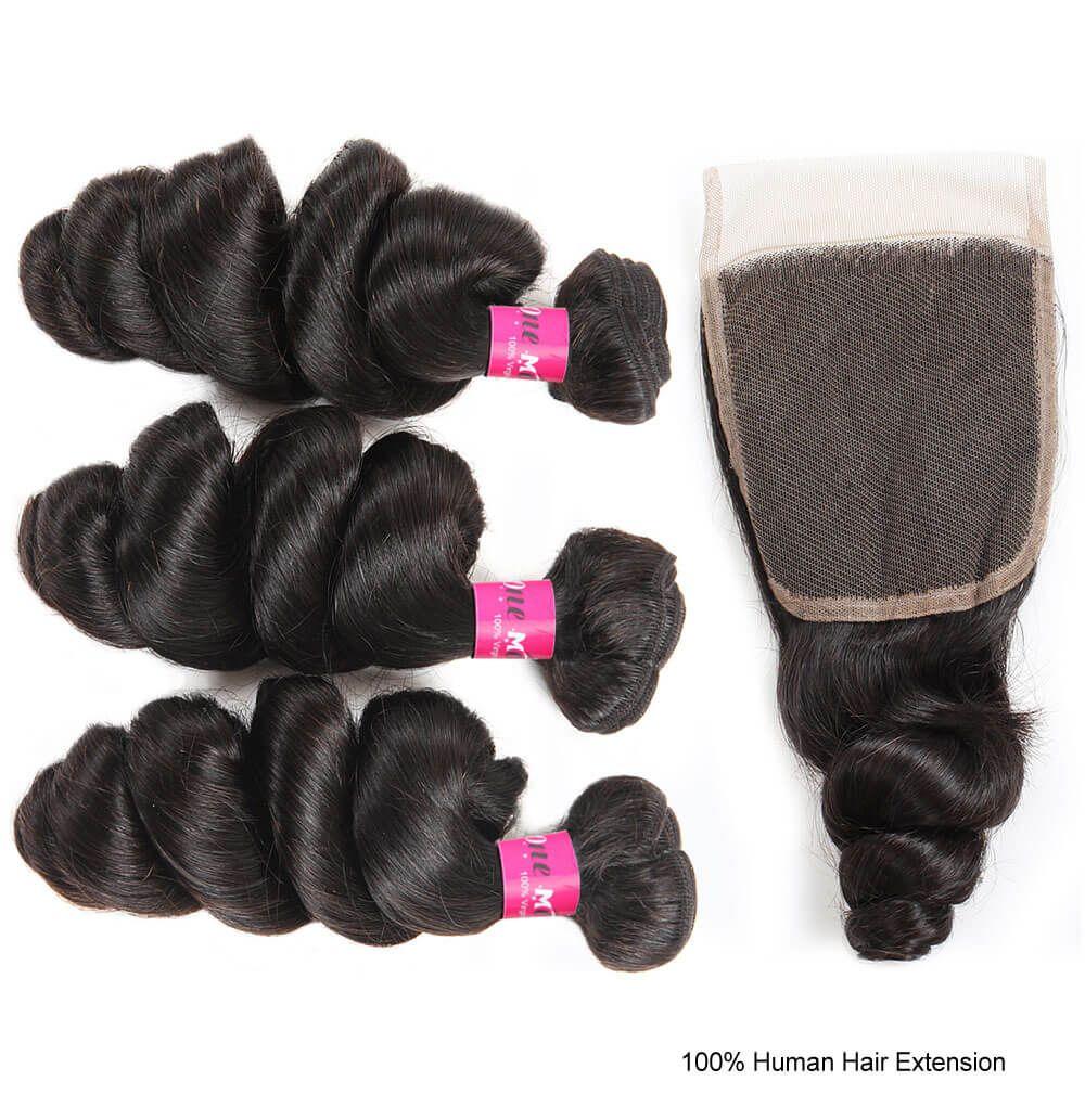 One More Indian Virgin Human Hair Loose Curls Wave Hair 3 Or 4
