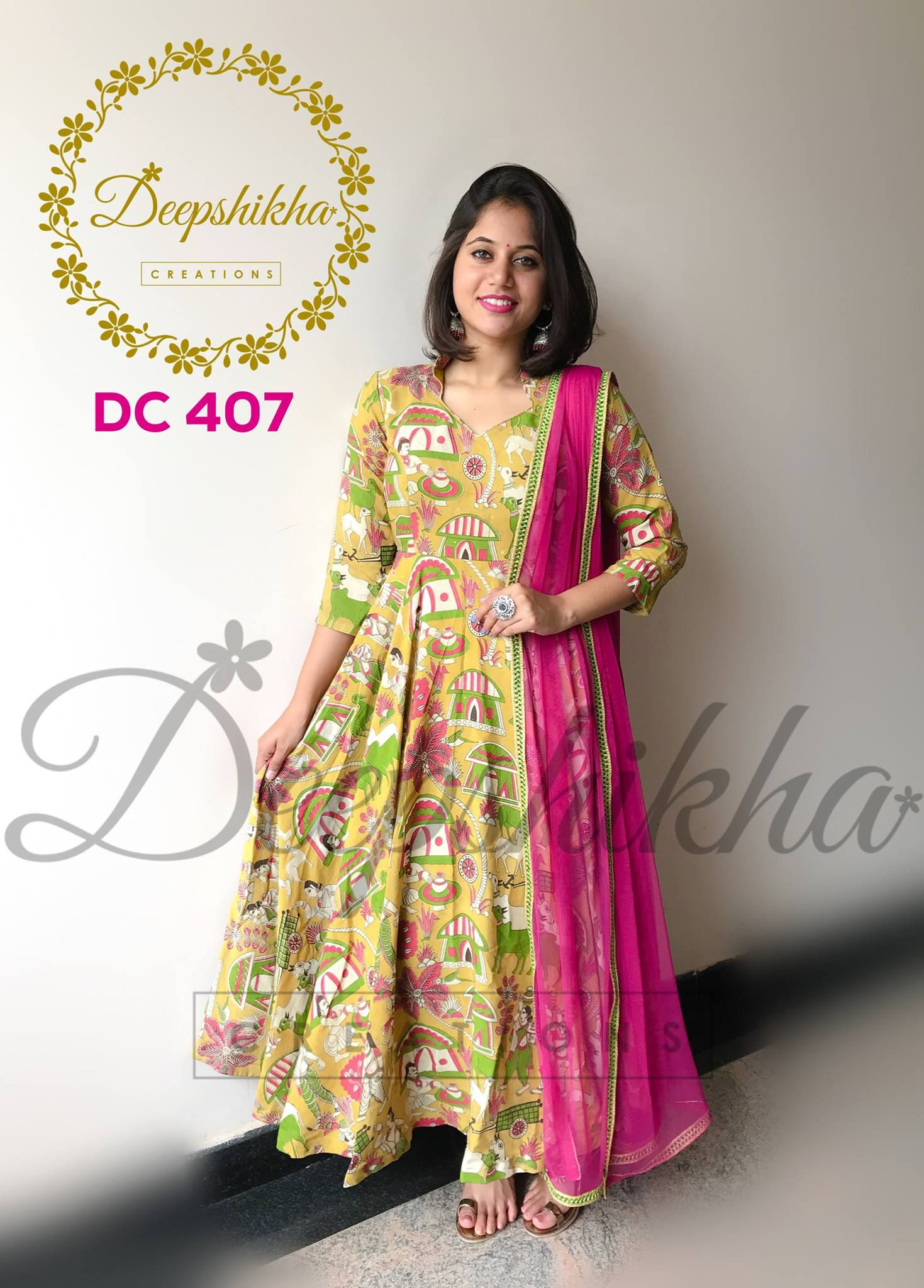 928813b6c58ee7 DC 407. Beautiful olive green color floor lenght dress with village attire  print.For queries kindly whatsapp  +91 9059683293 16 August 2017