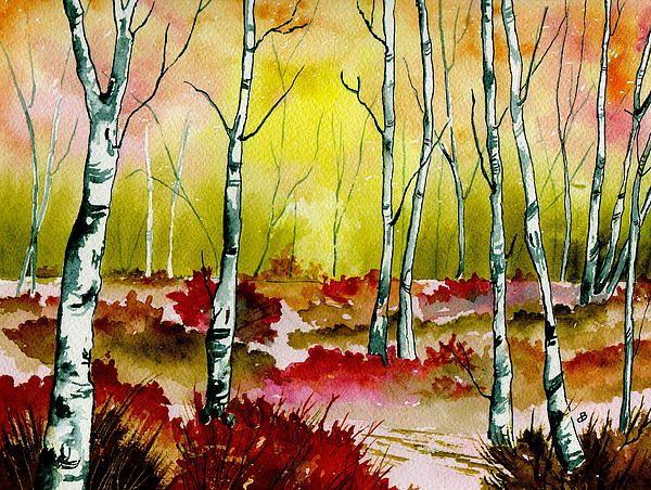 "Landscape Painting Watercolor. Title: "" Resplendent woods "" by Brenda Owen"