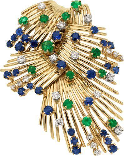Klenoty majetku: Brože - kolíky, Diamond, Emerald, Sapphire, Gold Brož.  ...