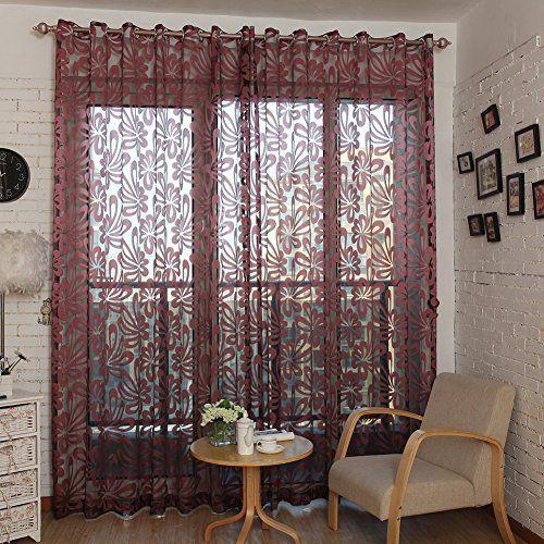 Top Finel Window Treatments Sheer Curtain Panel Geometric Pattern