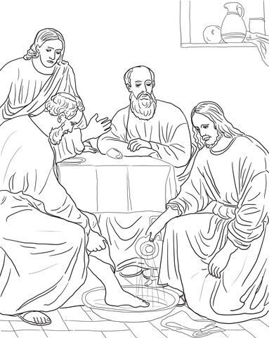 Jesus Washing the Disciples Feet Coloring page in 2020